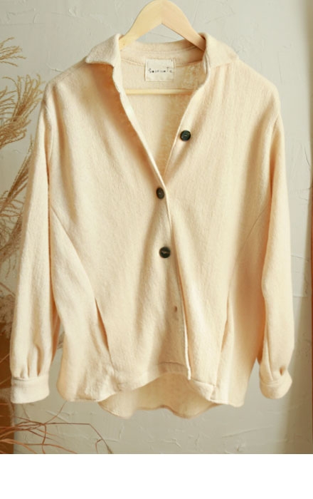 COCO wool 100 knit jacket (ivory)